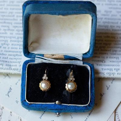 Vintage 18-karat Gold Earrings With Pearls And Diamonds, 1950s
