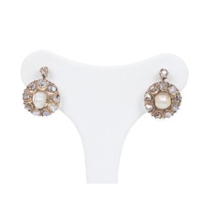 Boucles d'Oreilles  En Or 14 Carats Avec Diamants  Et Perles, Début Des Années 1900