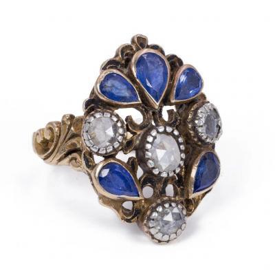 Bague Ancienne En Or 18 Carats Avec Saphirs Taille Poire Et  Diamant, 1930s