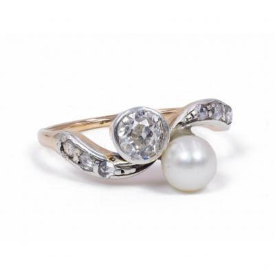 Bague Vintage En Or 18 Carats Et Argent Avec Diamant Et Perle 1940