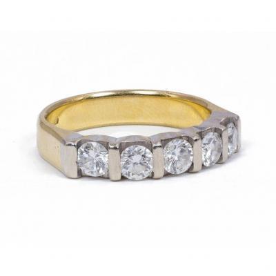 Bague  Vintage En Or 18 Carats Avec Diamants Taille Brillant (0,90 Ct Estimé), 1970s