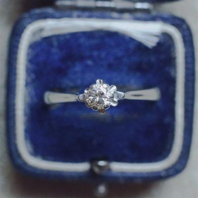 Solitaire Vintage En Or Blanc 18 Carats Et Diamant Taille Brillant De 0,25 Ct, Années 50/60