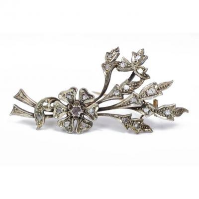 Broche Art Nouveau En Or 14 Carats Et Argent Avec  Diamants taille rose