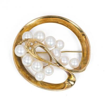 Broche Vintage En Or 18 Carats Avec Perles Akoya Et Diamants