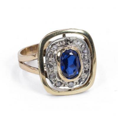 Bague En Or 18 Carats Avec Saphir Et Diamants Taille Rose 1950