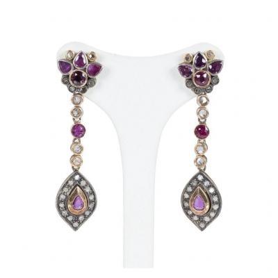 Boucles d'Oreilles De Style Ancien En Or 14k Avec Rubis Et  Diamants