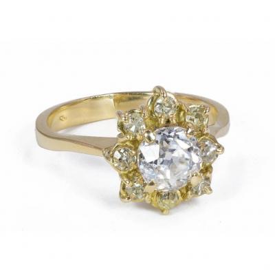 Bague En Or 18 K  Avec Diamant Taille Ancienne( Central De Plus De 1 Ct )
