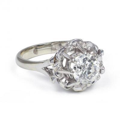 Bague Vintage En Or18 K Avec Un Diamant Taille Ancienne d'Environ 0.95 Ct, Années 40