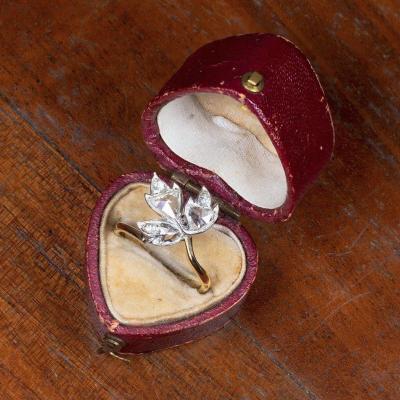Bague Or 18 Carats Et Argent Avec Diamants, Début Des Années