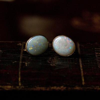 Boucles d'Oreilles Vintage Opale En Or 18 Carats, 1950