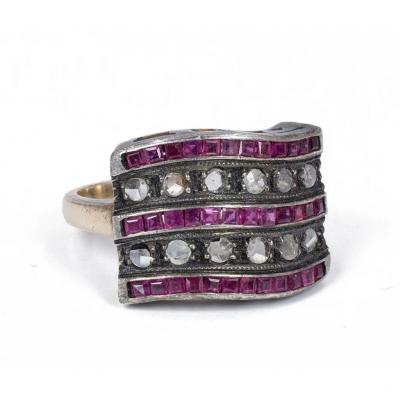 Bague En Or Et Argent 12 Carats Avec Rubis Et  De Diamants Taille Rose