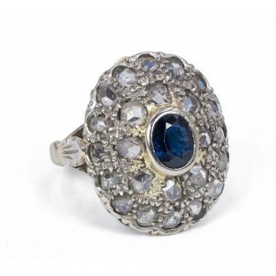 Bague En Or 18 Carats Avec Rosaces De Diamants Et De Saphirs