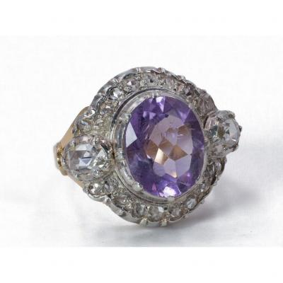 Vintage 18k Gold Ring With Rose Cut Diamonds And Amethyst