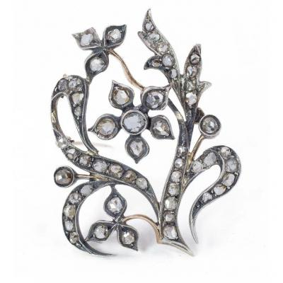 Art Noveau Brooch / Pendant In 14k Gold And Silver With Diamonds