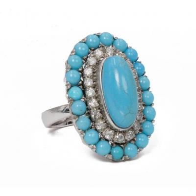 18k White Gold Ring With Turquoise And Diamonds