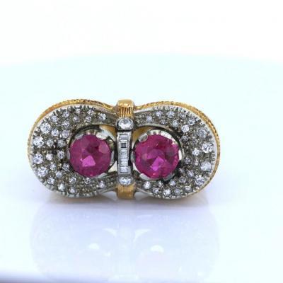 Bague Vintage En Or 18 Carats Avec Rubis Et Diamants, Années 40