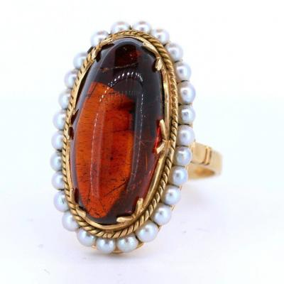 Vintage Ring In 18k Gold With Amber And Beads, 50s