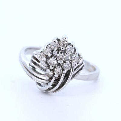 18k White Gold Ring With Huit Huit Cut Diamonds, 40s