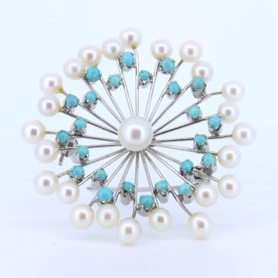Vintage Brooch In 18k Gold With Pearls And Turquoise, 60s