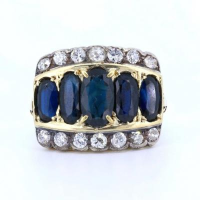 Antique 18k Gold Ring With Old Cut Sapphires And Diamonds