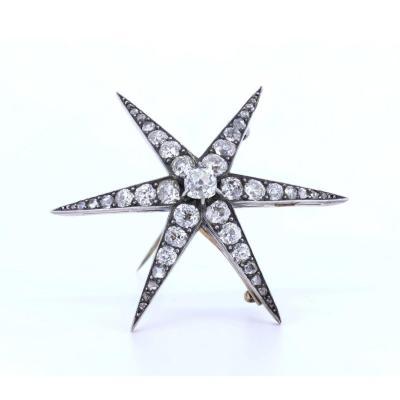 Broche / Pendentif Ancien En Forme d'Étoile En Or Et Argent Avec Diamants, DÉbut Des AnnÉes 900