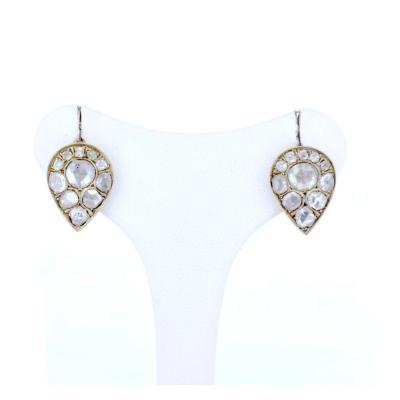 Boucles d'Oreilles Art Nou En Or 14 Carats Et Argent Avec Diamant Taille Rose