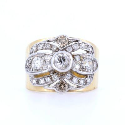 18k Gold And Silver Ring With Old Cut Diamonds