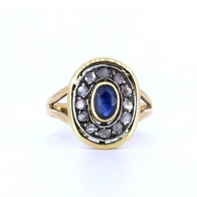Size: 11 Italian 51 French Weight: g 3.8 Materials: 18 carat gold, central sapphire and rosette cut diamonds VIDEO 360: https: //www.antichitagalliera360.it/360A/ANELLOGIALLOBLU/index.html