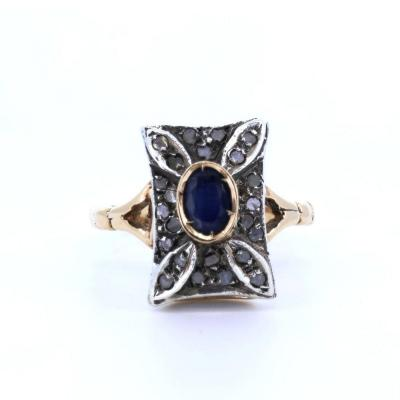 Vintage 14k Gold And Silver Ring With Sapphire And Diamonds, Early 900s Style