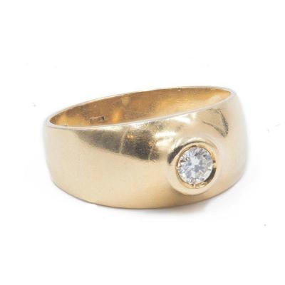 Vintage 18 K Gold Ring With A 0.30 Ct Diamond, '70