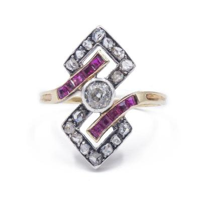 Art DecÒ Ring In 14 K Gold And Silver With Diamonds And Rubies, 30