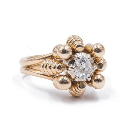 Vintage 18k Gold Ring With Old Central Cut Diamond (0.45 Ct), 1940s