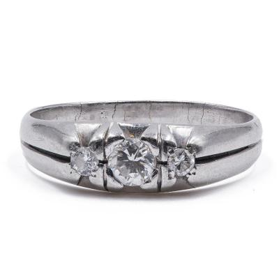 Vintage Mens Ring In 18k White Gold With Diamonds (0.4 Ct In Total)