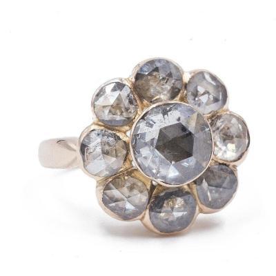 Bague Ancienne En Or 18 Carats Avec Diamants  TaillÉs  Rose Couronne (3 Ct Au Total)