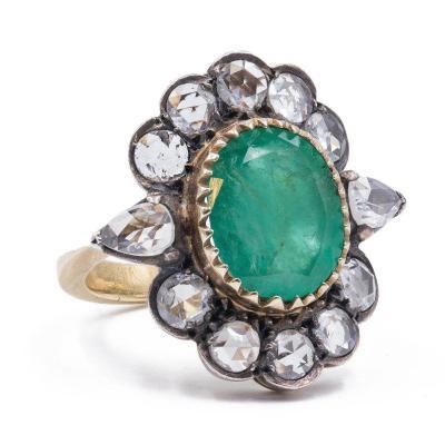 Bague Ancienne En Or Et Argent Avec Diamants Taille Émeraude Et Rose, DÉbut Des AnnÉes 900