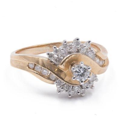 Bague Vintage En Or 14 Carats Et Diamants