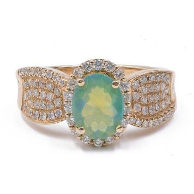 Bague Vintage En Or 14 Carats Avec Opale Et Diamants