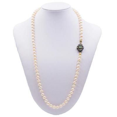 Collier De Perles Vintage Avec Susta En Or Et Argent Avec Émeraude Et Diamants, 50