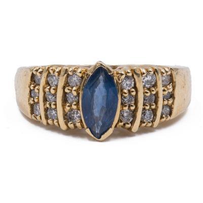 Bague Vintage En Or 14 Carats Avec Saphir Central Et Diamants