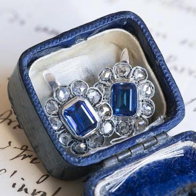 Boucles d'Oreilles Anciennes En Or Blanc 18k Avec Saphirs Et Diamants Taille Rose