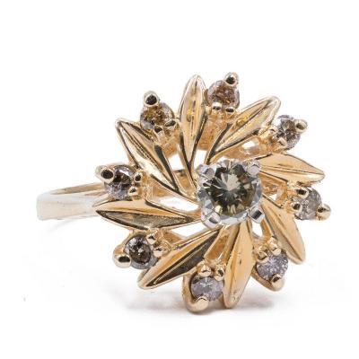 Bague Vintage En Or 14 Carats Avec Diamants (0.27 Ct )
