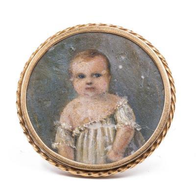 Broche Ancienne En Or Avec Miniature Enfant, Milieu Du XIX SiÈcle