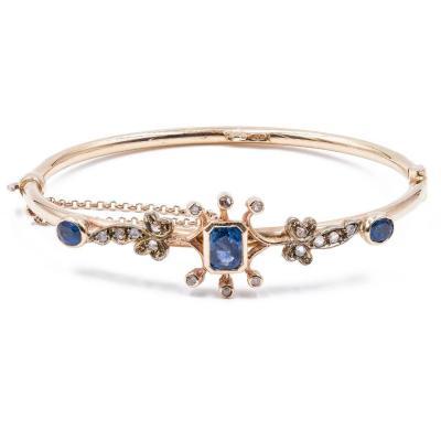 Bracelet Ancien En Or 12 Carats Avec Saphirs Et Diamants, DÉbut Des AnnÉes 900