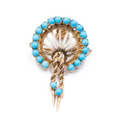 Broche Pendentif Vintage En Or 14 Carats Avec Turquoise