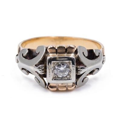 Bague Vintage En Or 18 K  Bicolore Avec Diamant Central (0.15 Ct)