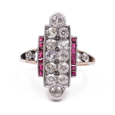 Bague Art DÉco En Or 14 Carats Avec Diamants Taille Ancienne (1.3 Ct) Et Rubis, AnnÉes 30