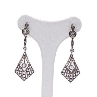 Boucles d'Oreilles Art Deco En Or 18 K Et Argent Avec Diamants Taille Rose