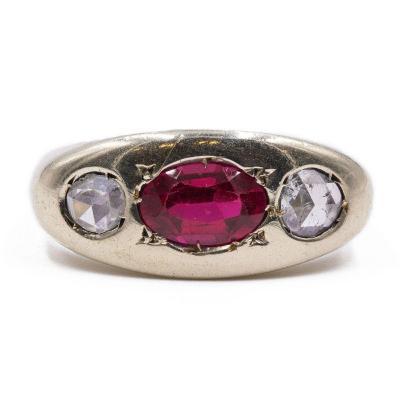 Bague Pour Homme En Or 14 Carats Avec Rubis Et Diamants TaillÉs En Rose