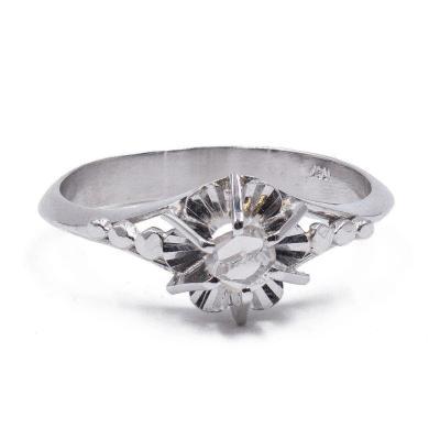 Bague Vintage En Or Blanc 18 Carats Avec Diamant TaillÉ  Rose, AnnÉes 40