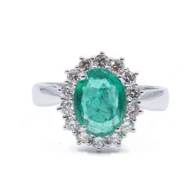 Bague En Or 18 Carats Avec Contour Émeraude (1.6 Ct) Et Diamants Taille Brillant (0.55 Ct) €2.4